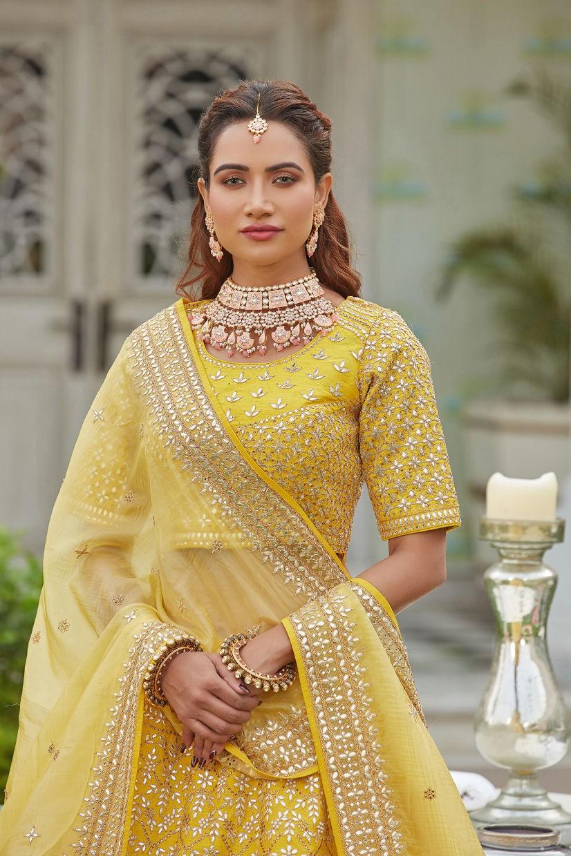 Lemon Yellow Silk Bridal Lehenga Choli