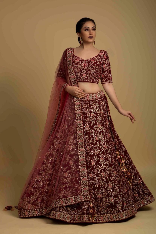 Rosewood Red Micro Velvet Bridal Lehenga Choli