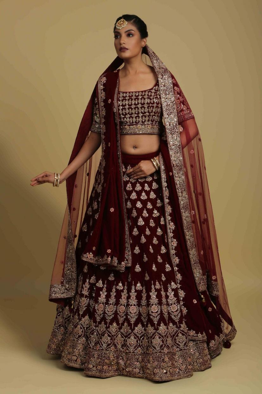 Garnet Red Micro Velvet Bridal Lehenga Choli