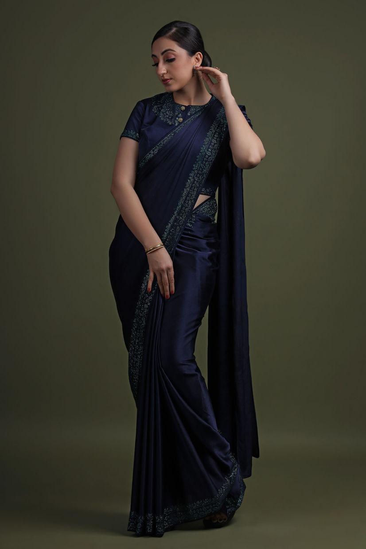 Mystic Space Blue Italian Satin Saree With Designer Blouse