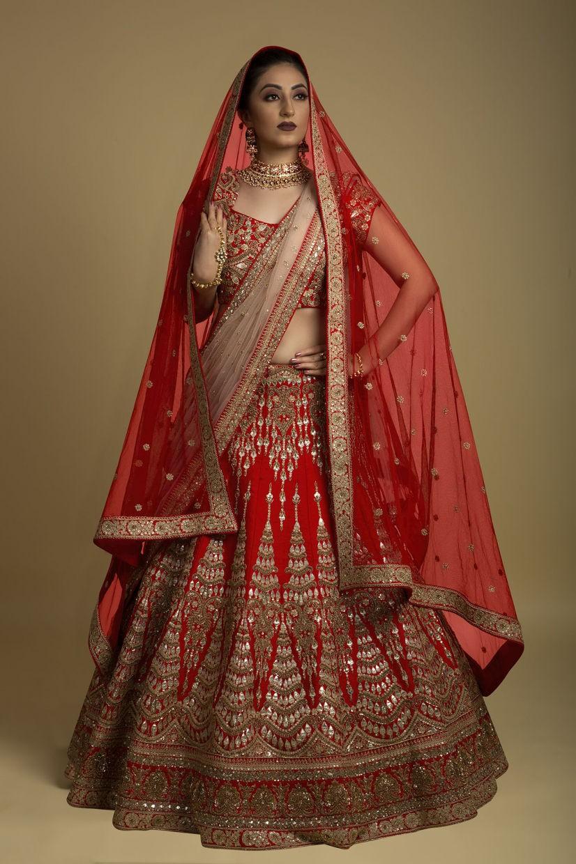 Scarlet Red Raw Silk Bridal Lehenga Choli