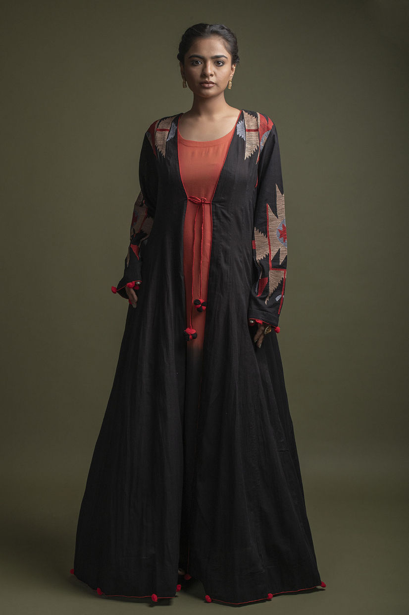 Red And Black Jacket Style Kurti With Thread Work