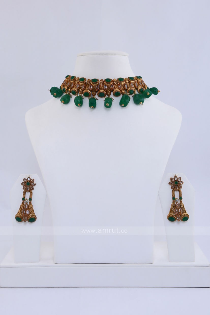 Antique Gold Necklace Studded With Semi Precious Emerald Green Stone And Beads