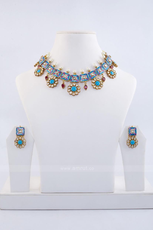 Minakari Hand Painted With White Jadau Kundan Base Metal Pure Silver Necklace Set