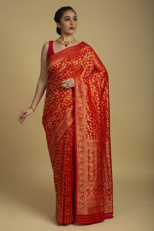Spice Orange Banarasi Silk Saree