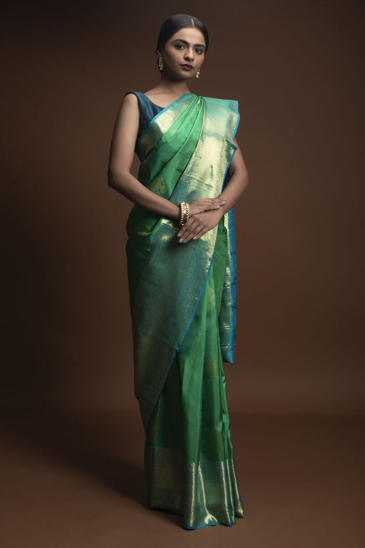 Green With Blue Border Handloom Silk Saree