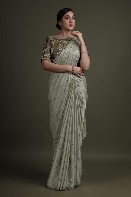 Cloud Silver Shimmer Printed Satin Saree