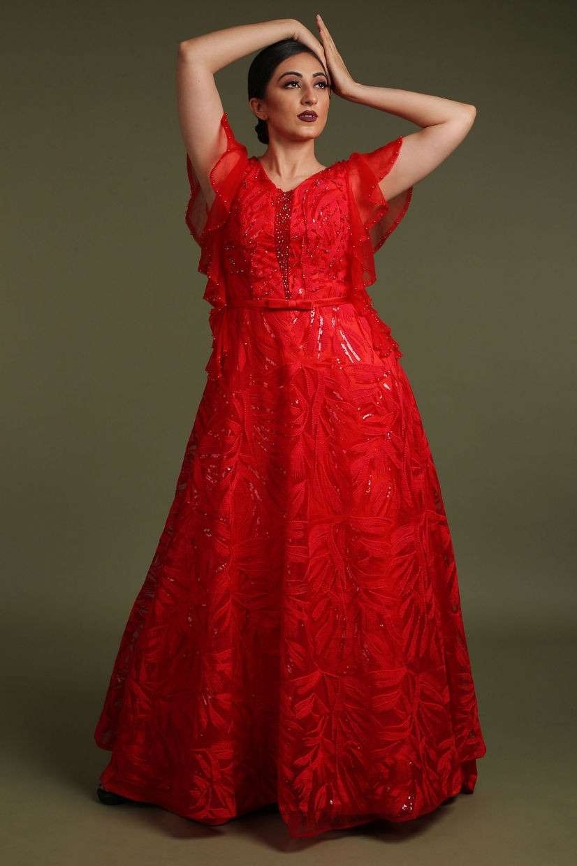 Crimson Red Net Party Gown
