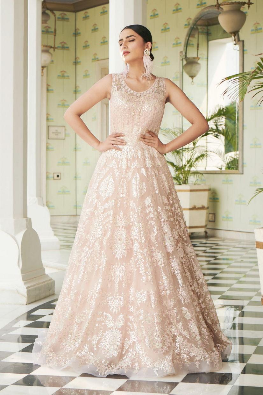 Peach Pink Net Ethnic Gown