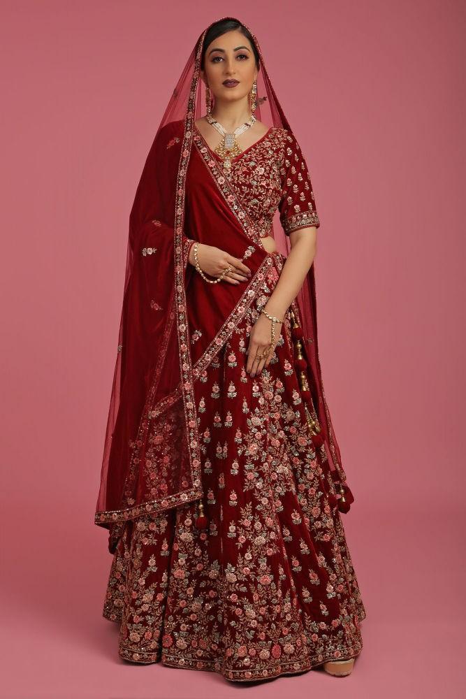 Crimson Red Micro Velvet Bridal Lehenga Choli