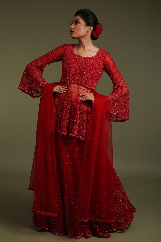 Cherry Red Net Sharara Suit
