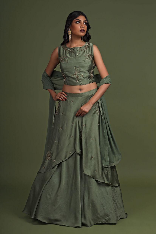 Olive Green Soft Silk Party Wear Lehenga