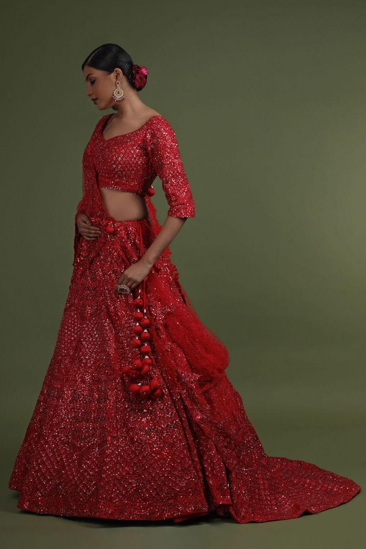 Crimson Red Net Bridal Lehenga Choli