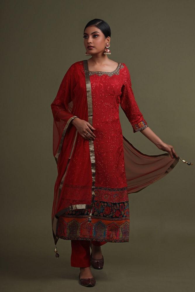 Crimson Red Georgette Salwar Suit