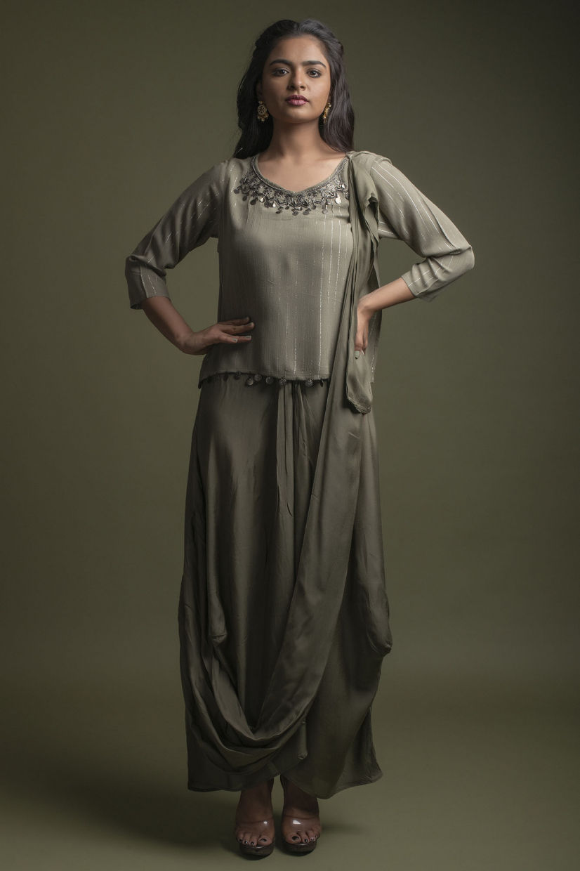 Seaweed Cowl Long Dress With Beautiful Neckline