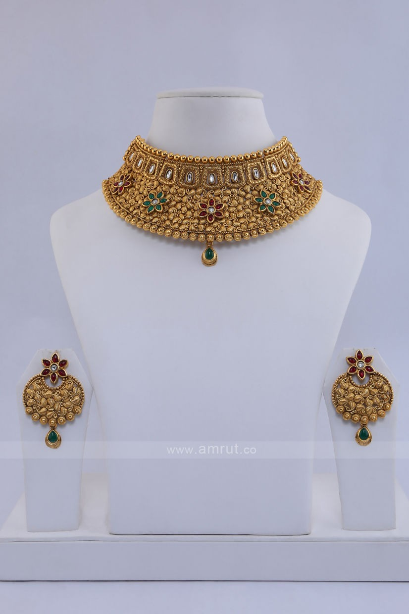 Antique Gold Finished Necklace Set Studded With Ruby And Green Stone Along Polki