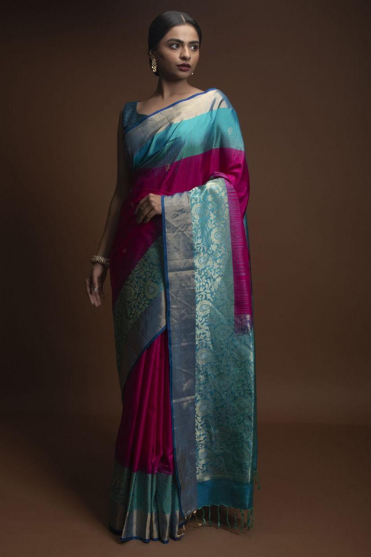 Firozi Banglori Silk Saree