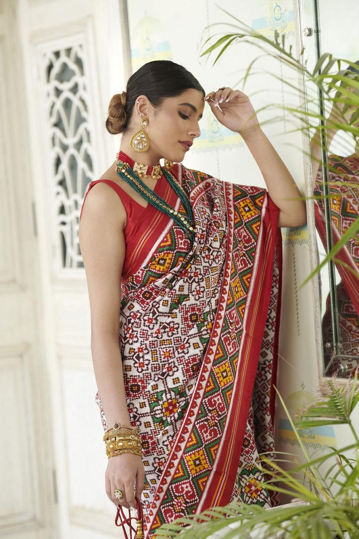 Ivory White Silk Real Patan Patola Saree