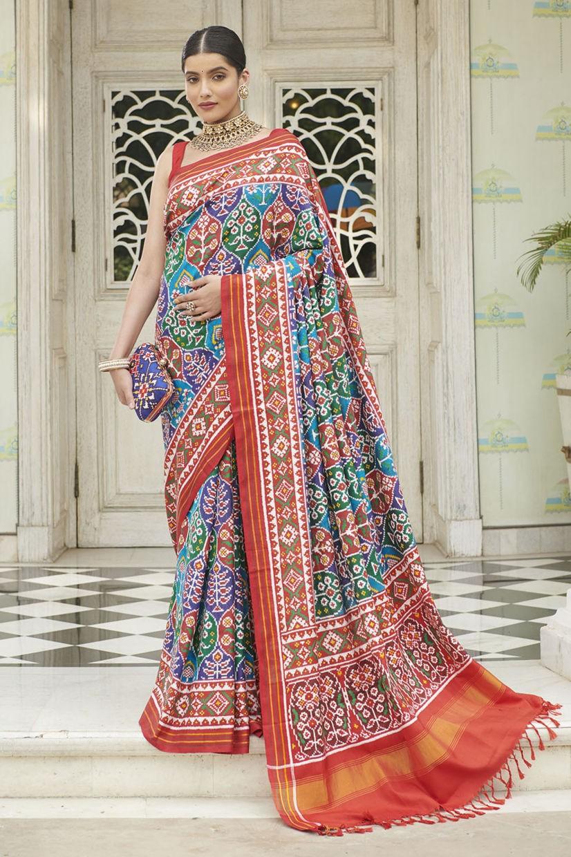 Multishade Silk Real Patan Patola Saree