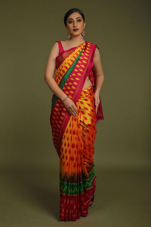 Bright Orange Soft Silk Patola Saree