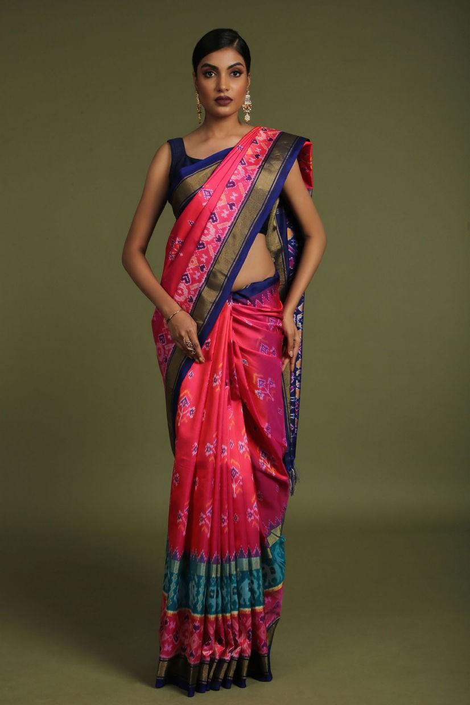 Magenta Pink Soft Silk Patola Saree
