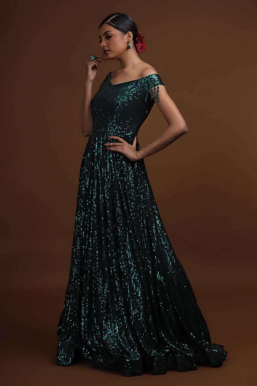 Pine Green Sequins Party Gown