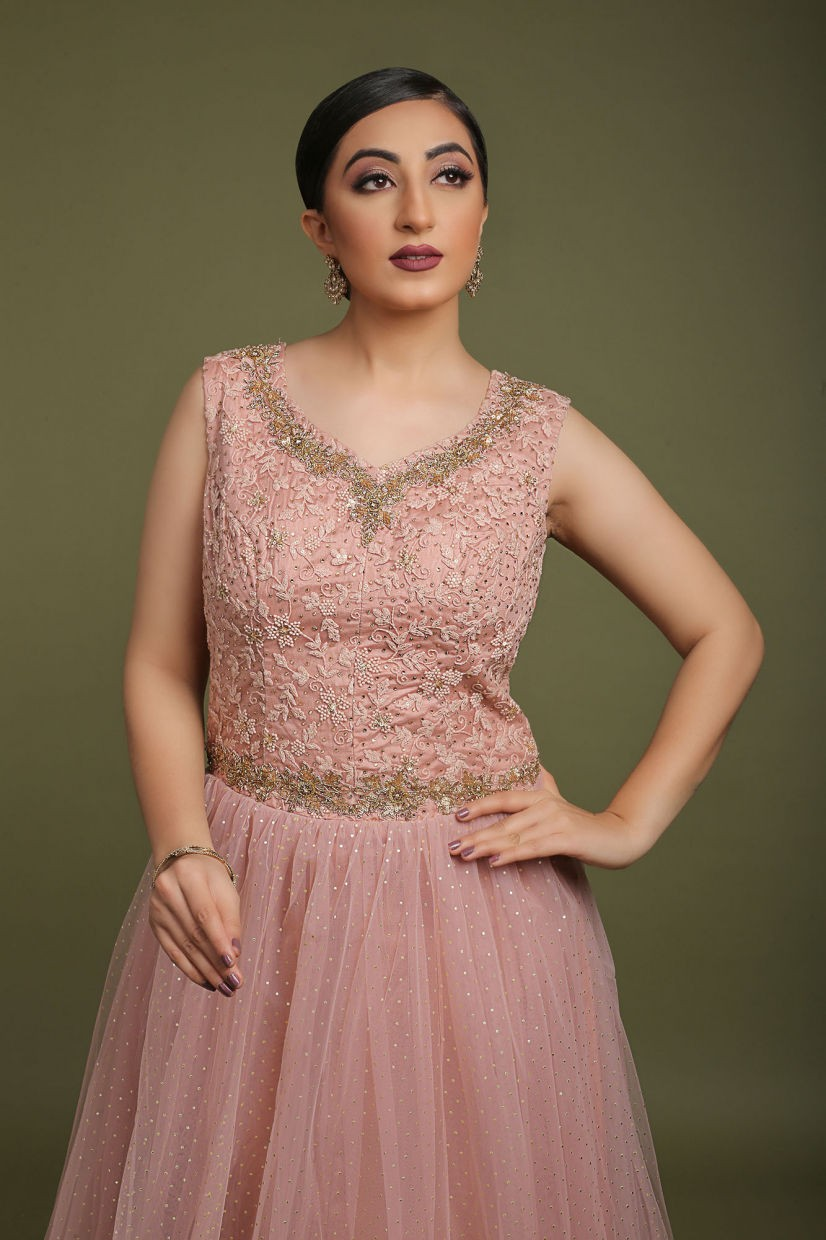 Rose Pink Net Party Gown