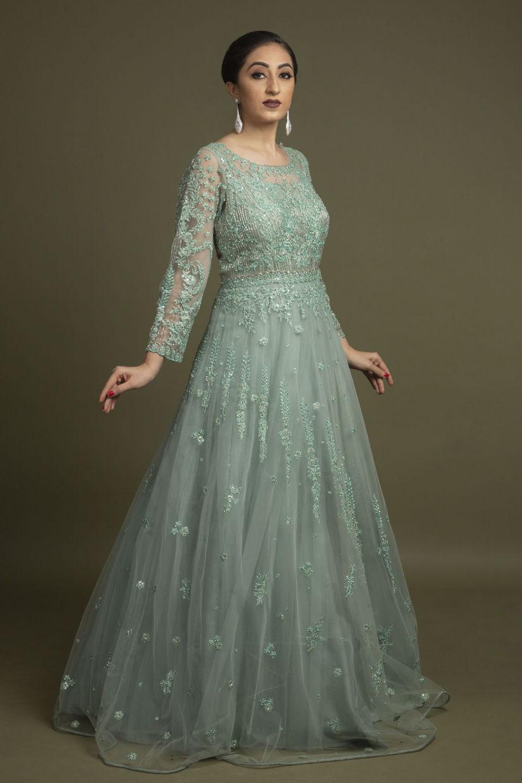 Aqua Blue Net Ethnic Gown
