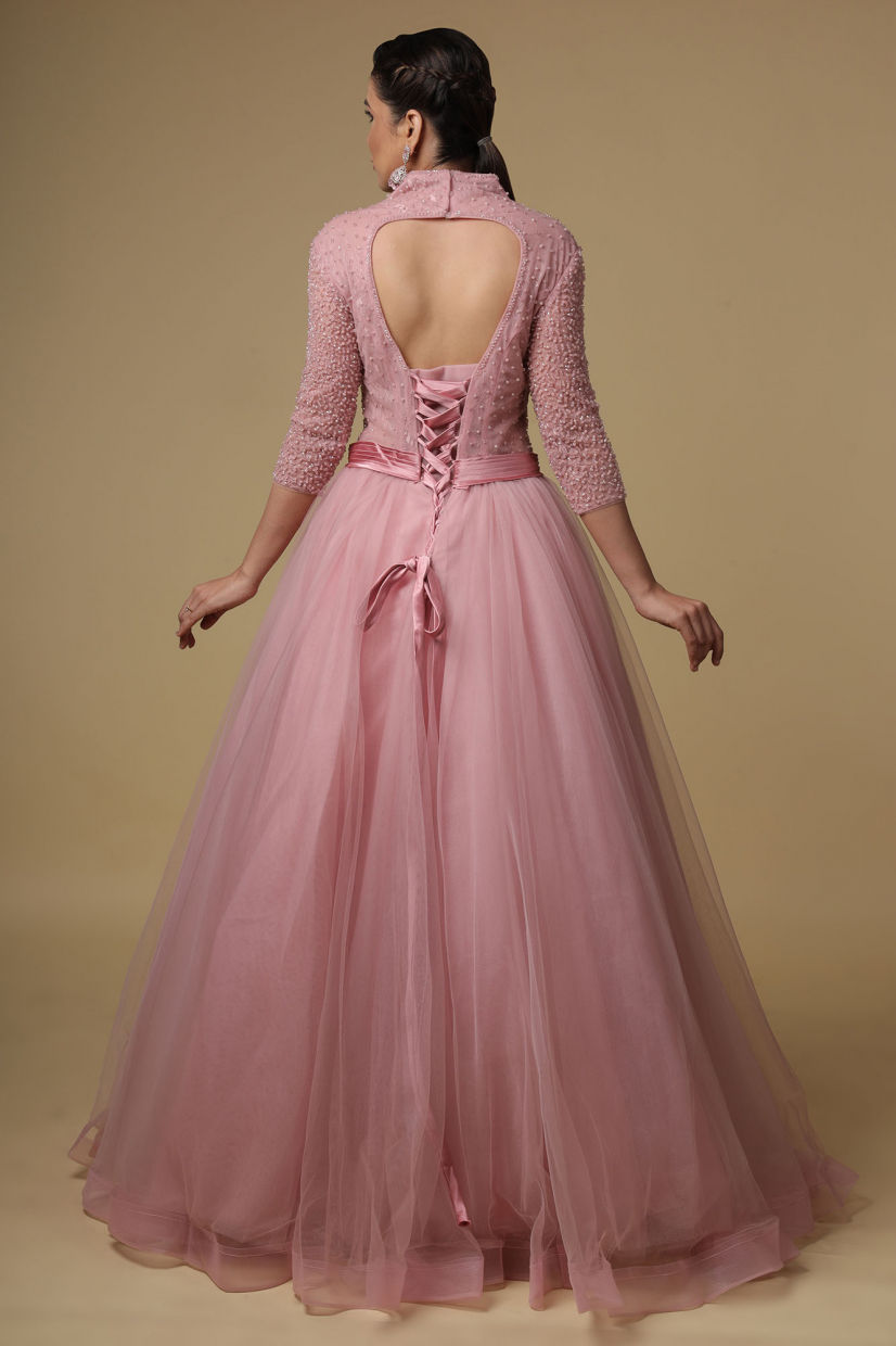 Baby Pink Net Evening Party Gown