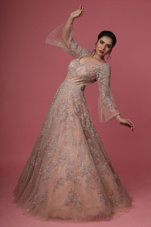 Peachy Orange Net Ethnic Gown