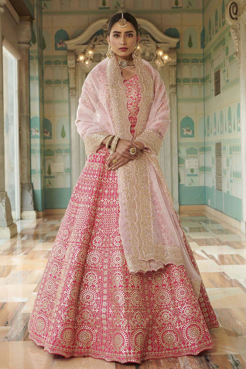 Coral Pink Silk Ethnic Gown
