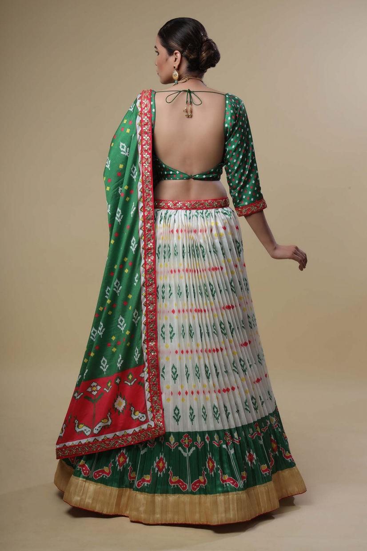 Parrot Green Semi Silk Lehenga Choli