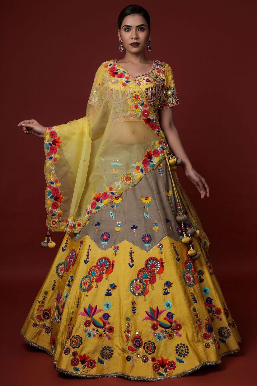 Marigold Yellow Raw Silk Lehenga Choli