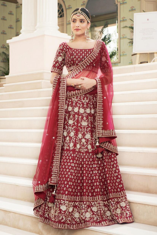 Ruby Red Silk Bridal Lehenga Choli