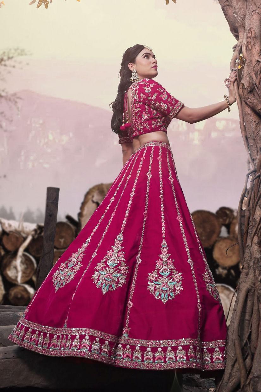 Ruby Pink Velvet Lehenga Choli