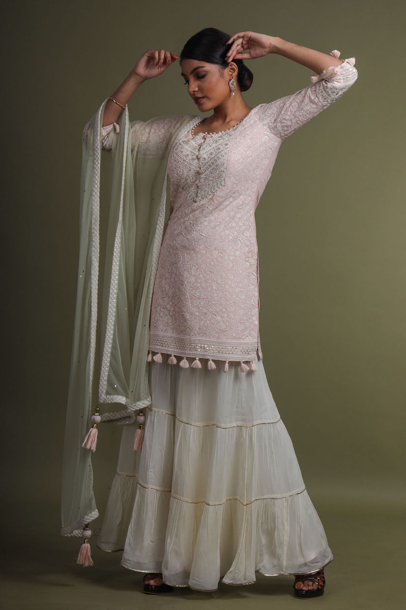 Blush Pink Georgette Palazzo Suit