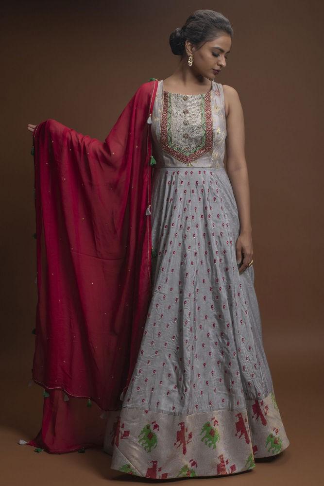 Powder Blue Anarkali Suit In Silk With Cut Dana & Sequins Work And Maroon Georgette Dupatta