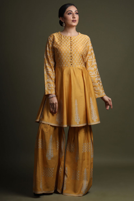 Honey Yellow Cotton Silk Sharara Suit