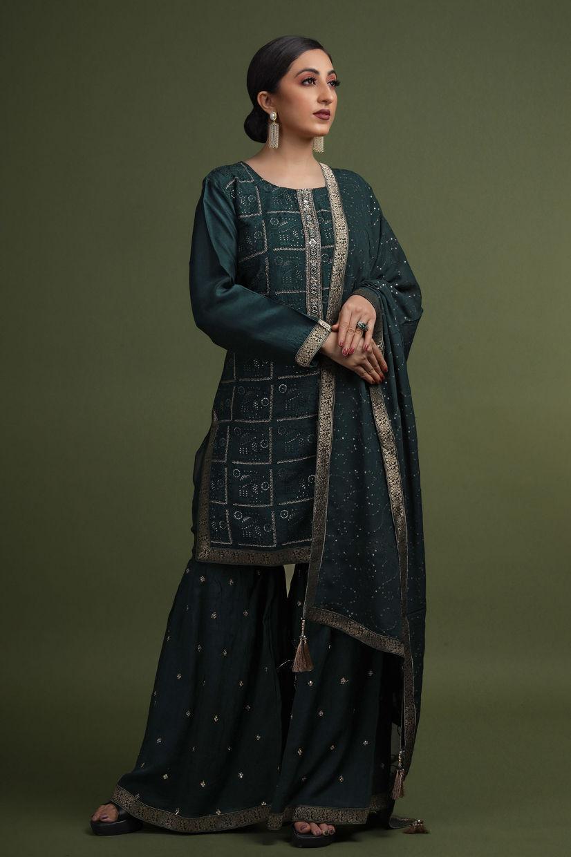 Clover Green Raw Silk Sharara Suit