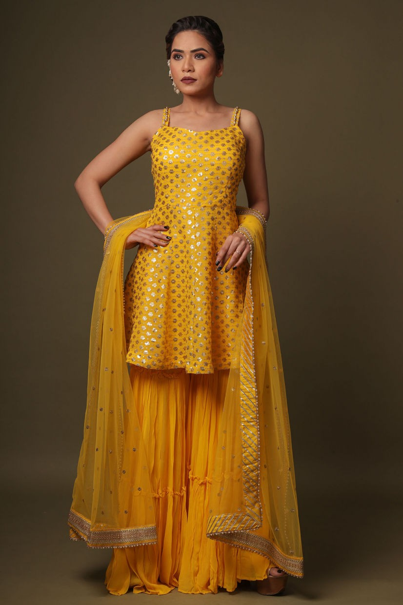 Butter Yellow Georgette Sharara Suit