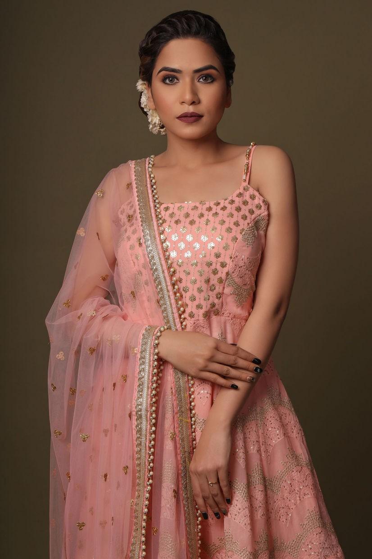 Blush Pink Georgette Sharara Suit