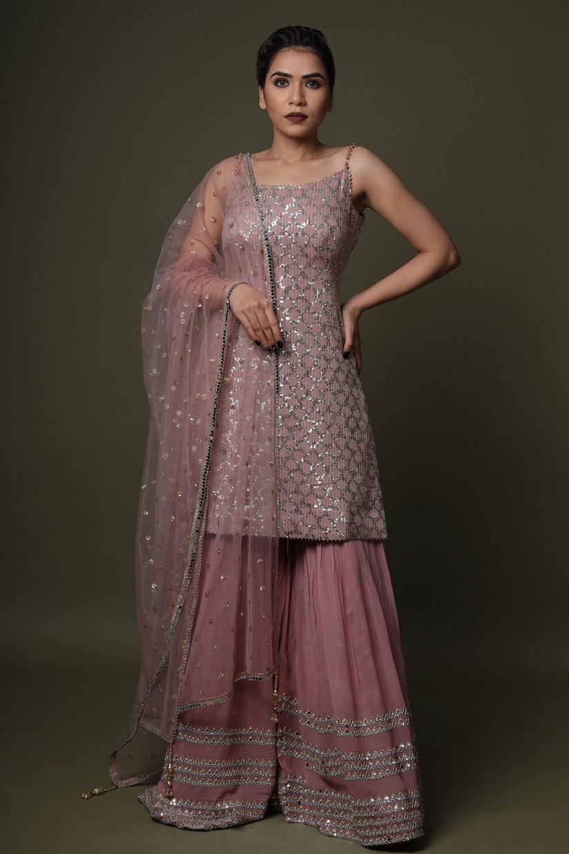 Dusty Pink Georgette Sharara Suit