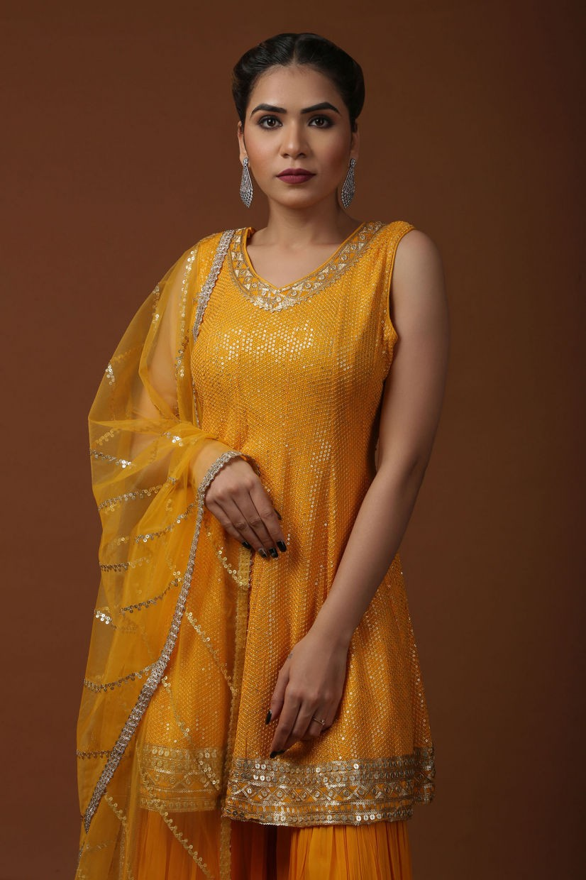 Marigold Yellow Georgette Sharara Suit
