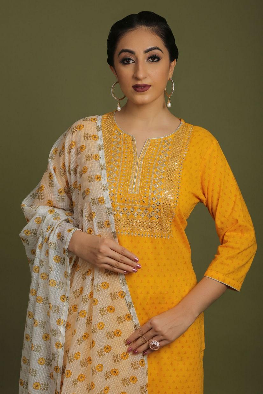 Honey Yellow Cotton Silk Salwar Suit