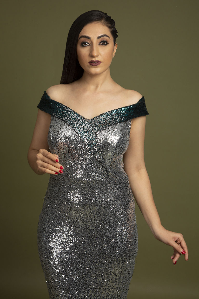 Metal Silver Imported Evening Gown