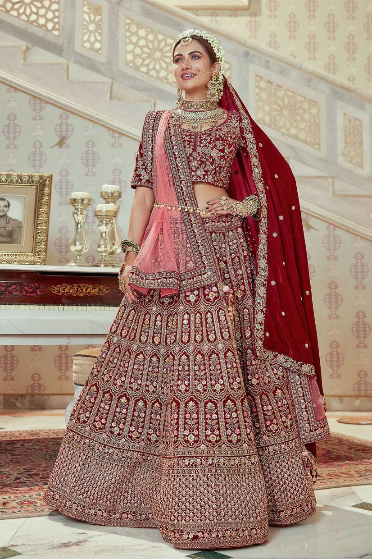Carmine Red Micro Velvet Bridal Lehenga Choli