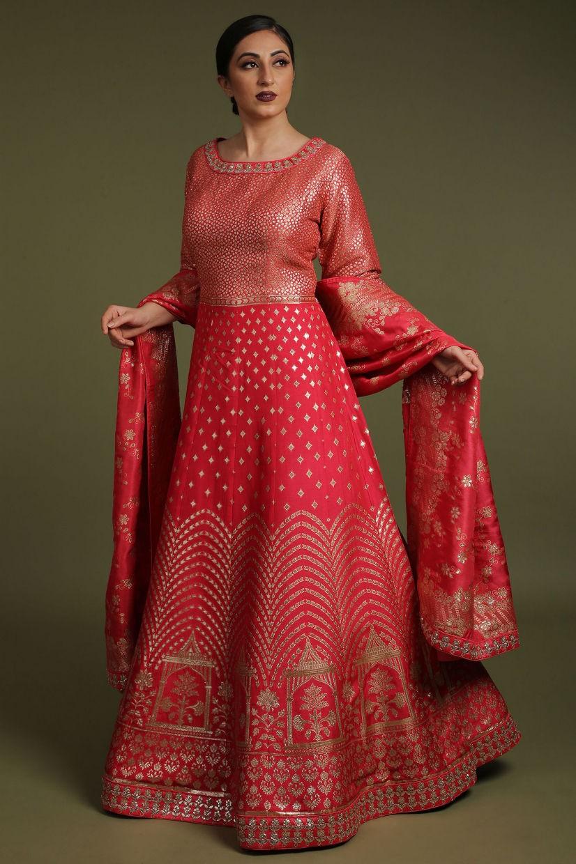 Blush Red Banarasi Silk Salwar Suit