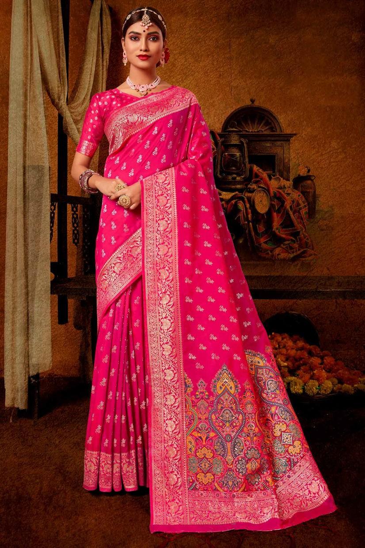 Melon Pink Banarasi Silk Saree