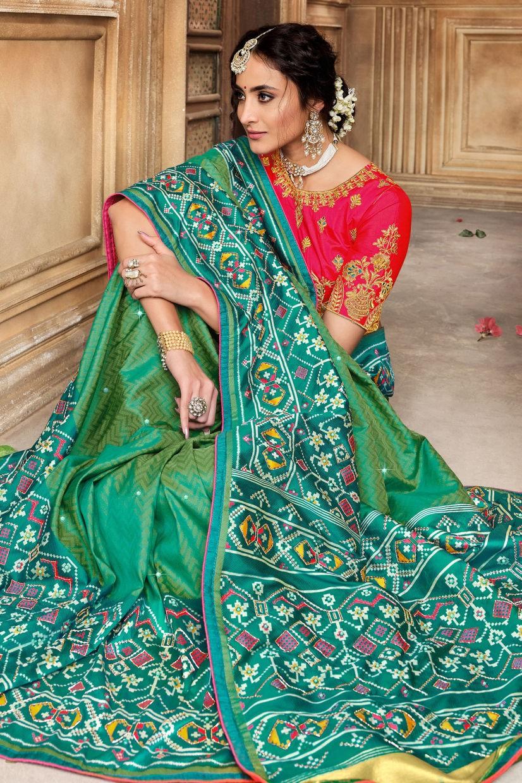 Peacock Green Patola Silk Saree