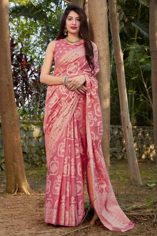 Candy Pink Cotton Silk Saree